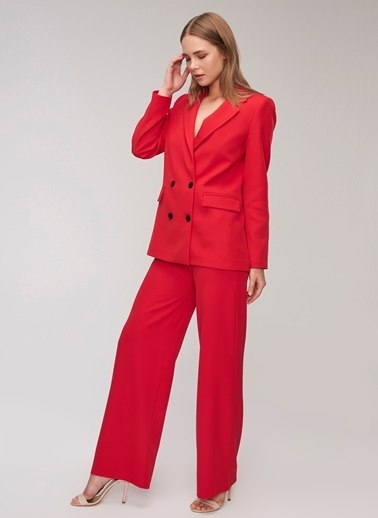 People By Fabrika Bol Paça Pantolon Kırmızı